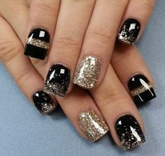 Black n gold nails