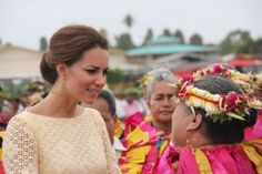 THE DUCHESS LISTENS INTENTLY AS SHE IS WELCOMED TO FUNAFUTI