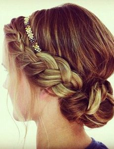Try this wrap around braid with a thin beaded headband for a pop of color.