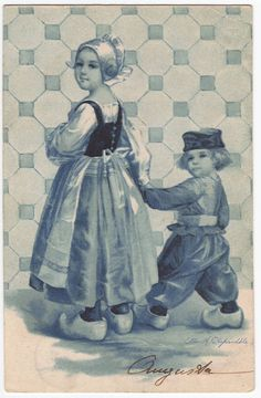 Children in regional dutch costumes - Ellen Clapsaddle - Antique blue toned postcard from Germany - 1906 -