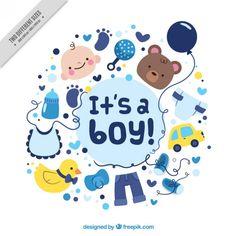 Bonita tarjeta de bienvenida de bebé con simpáticos dibujos Vector Gratis