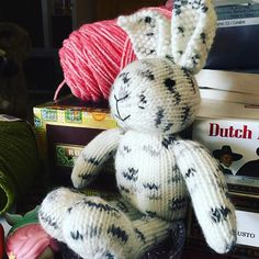 Little boy bunny waiting on a sweater! #littlecottonrabbits #knitting