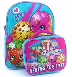 """ShopKins Large 16"""" School Bag Kids Backpack with Lunch Bag Combo  