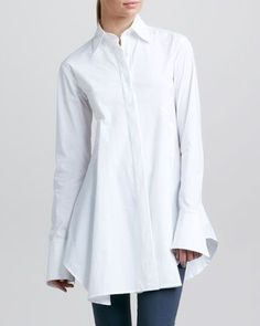 2013 The Ten: White Blouses: Easy Shirt, White by Donna Karan Long White Shirt, Classic White Shirt, Crisp White Shirt, Donna Karan, Estilo Fashion, 90s Fashion, Fashion Tips, Moda Casual, Simple Shirts
