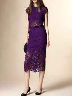 Purple Cocktail Polyester Two Piece Crocheted Midi Dress