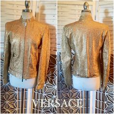 Versace Gold Leather Jacket  1990's Versace jacket  by TroppoBella