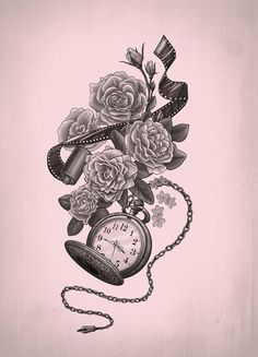 Film and a pocket watch. This would make for a great sleeve tatoo. Trendy Tattoos, New Tattoos, Body Art Tattoos, Sleeve Tattoos, Cool Tattoos, Tatoos, Feminine Tattoos, Skull Tattoos, Tribal Tattoos