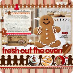 """Fresh Out of the Oven"" Gingerbread Recipe Scrapbooking Layout"