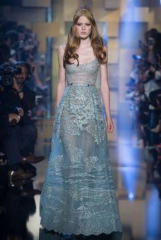 Elie Saab Haute Couture Autumn Winter 2015-16 at Paris Fashion Week #blue