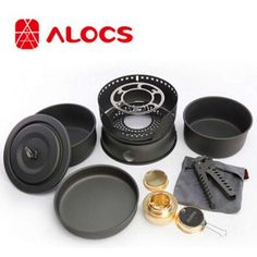 ALOCS 10 Piece Set Camping Pot with Windproof System-70.18 and Free Shipping  GearBest.com