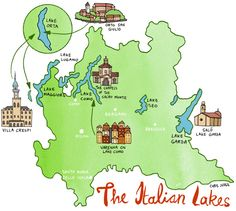 Chris Judge - illustrated map of the Italian Lakes commissioned for Aer Lingus's monthly magazine Cara.