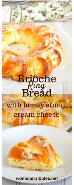 Soft and fluffy brichne bread ring stuffed with hoey cream cheese. Real yummy!