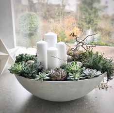 Adventskranz Betonschale mit Sukkulenten und 4 weissen Kerzen... Weihnachtsdeko #weihnachtsdeko #adventskranz Christmas Candles, Christmas Art, White Christmas, Christmas Decorations, Table Decorations, Advent Wreath, White Candles, Plant Decor, Candle Centerpieces