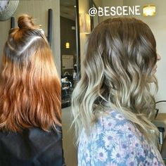 Instagram photo by bescene - Amazing color correct I did today! From an old copper blonde with grown out roots to a beautiful ash brown with cool blonde balayage ombre! I used @Schwarzkopfusa 5-, E-1,0-22 at the base, and 9-1,0-22 to tone all over! Tousled waves, finished by my assistant @maayanb13 #bescene