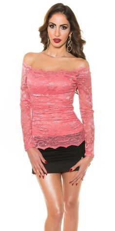 Růžová krajková halenka