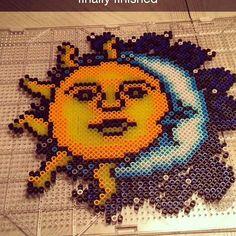 Sun & Moon perler beads by kandikids21