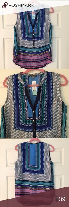 """Stitch Fix NWT Fallon Mixed Print Blouse super fun and perfect for pairing with your fav white bottoms! new with tag """"Fallon Mixed Print"""" sleeveless blouse from Brixon Ivy for Stitch Fix. 100% poly. size large. bust flat is 19.75"""", length is 26"""". Stitch Fix Tops Blouses"""