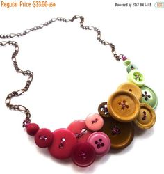 Christmas in July Sale Color Blocking Necklace with Magenta