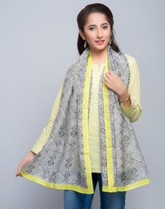 Silk Mulberry Contrast Kanni Waves Stole