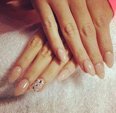 Nude nails, almond shape