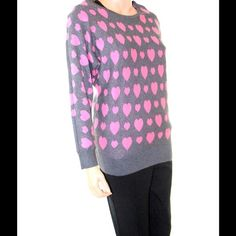INC Pink Hearts Sweater Grey and pink #18 INC International Concepts Sweaters