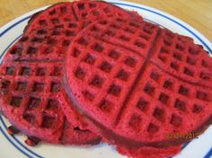 Red Velvet Waffles from Food.com:   								saw wolfgang puck making these and boy did they look good . so i went out and found the recipe lol. these are sweet  and really good with cherry pie filling and cool whip