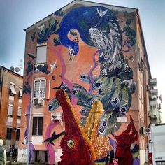 1 of 6 murals by Hitnes at San Basilio, Rome