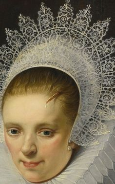 ''Cornelis de Vos, Portrait of a Lady in elegant Dress, detail''. Compare this wonky headdress by de Vos with a one painted by Frans Hals and it is clear who gets the drawing right.