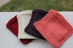 Knit Coasters Set of 4 - Table Coasters - Red White Purple Pink - Shabby Chic Home Decor - Custom Made