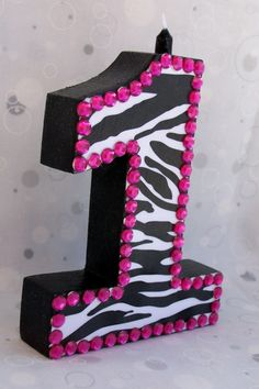 Zebra hot pink birthday candle by Rustic Horseshoe