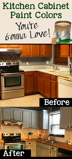 Kitchen Cabinet Paint Colors / You're Gonna Love! Kitchen Cabinet Color Schemes, Cabinet Paint Colors, Kitchen Cabinet Hardware, Diy Kitchen Cabinets, Painting Kitchen Cabinets, Kitchen Paint, Kitchen Furniture, Kitchen Dining, Kitchen Ideas