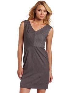 AK Anne Klein Women's Sky Pinstripe V-Neck Dress Review