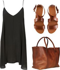 black dress, brown sandals and bag