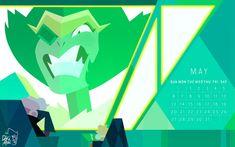 Steven Universe 2018 calendar - May's birthstone is Emerald by weirdlyprecious on tumblr