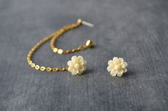 Cream Carnation and Heart Multiple Pierce Gold by oflovelythings, $11.00