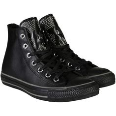 Converse Sneakers ($140) ❤ liked on Polyvore featuring shoes, sneakers, black studs, leather shoes, converse trainers, star shoes, black sneakers and converse shoes