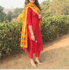 Reddish Plain Yellow Phulkari Pant Style Suit - Patiala Suits - Suits and Dress material - Womenswear Kurta Designs Women, Salwar Designs, Kurti Designs Party Wear, Dress Designs, Party Wear Indian Dresses, Indian Outfits, Pakistani Outfits, Wedding Dresses, Punjabi Fashion