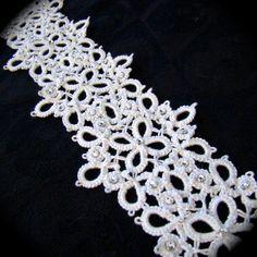 Tatted Lace Bridal Sash - Swarovski Crystal and Tatted Lace - Custom Ribbon Color. $125.00, via Etsy.