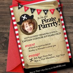 Pirate Party Invitation, Pirate Party, Pirate Party Invite, Red & Black Pirate Party Invitation, Treasure Map Invitation, Printable, Photo by FoxyLoxyDesign on Etsy Pirate Party Invitations, Map Invitation, Digital Invitations, Printable Invitations, Party Printables, Invitation Design, Invite, Pirate Boats, All Band