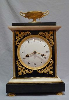 Antique French Directoire marble and ormolu mantel clock. - Gavin Douglas Antiques