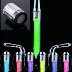 SOLEDI LED 7 couleurs changeantes robinet lumière Embout Robinet D'eau évier lavabo Sonde Température Mousseur Faucet