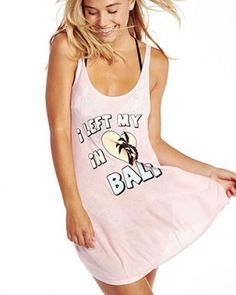 I left my heart in Bali tank dress for girls palm tree long tank tops
