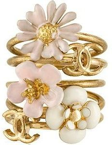 Frosty pink and gold flower CHANEL bracelets. Love love love!