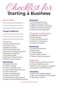 Use this checklist for starting a #smallbusiness.