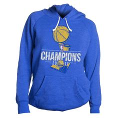 Golden State Warriors Majestic Threads Women's 2017 NBA Finals Champions Tri-blend Pullover Hoodie - Royal