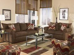 color ideas brown furniture Living Room Colors With Brown Furniture. Living Room Paint Colors With Brown Furniture Retro Living Rooms, Home Living Room, Living Room Furniture, Living Room Designs, Living Room Decor, Apartment Living, Room Paint Colors, Paint Colors For Living Room, Wall Colors