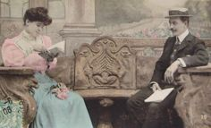 French Antique Postcard  Couple Reading on a Bench by ChicEtChoc, $4.50