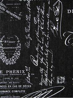Cuba Black White French Laundry Script Fabric For Drapery Panels Upholstery Fabric Or Pillow