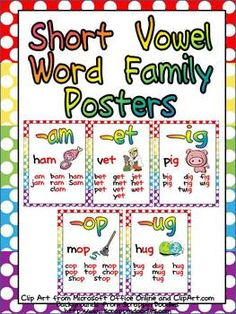 Short Vowel Word Family Posters $