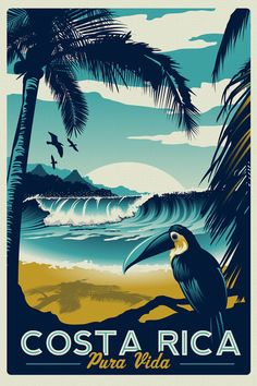 100% original artwork Costa Rica Retro Vintage Travel Poster Toucan Wave Surf Palm Trees Screen Print